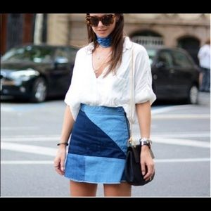 Zara Patchwork Denim Skirt